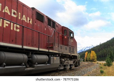 Field, BC / Canada - October 07 2017: Canadian Pacific train moving through the Rocky Mountains