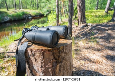 Field binocular with closed lenses lies on stump in forest