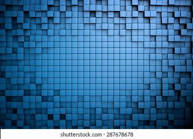 Field of blue 3d cubes. 3d render background image