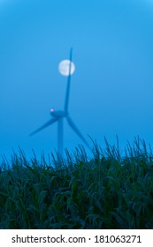 Field of corn with a wind turbine and moonrise behind it in Dexter, Minnesota.