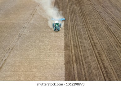 Field cultivation, preparation to plant, aerial view