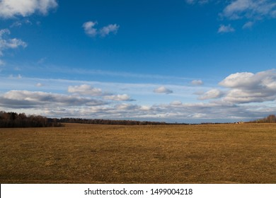 Field with dry grass and blue sky with clouds.