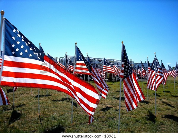 A field of flags.