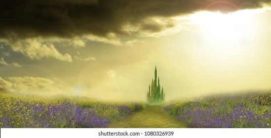 field of flowers with emerald city  on horizon