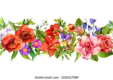 Field flowers, wild herbs, summer plants. Repeating floral horizontal border. Watercolor