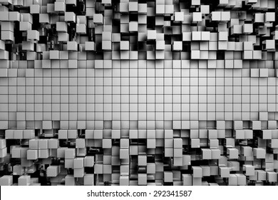 Field of gray 3d cubes. 3d render background image