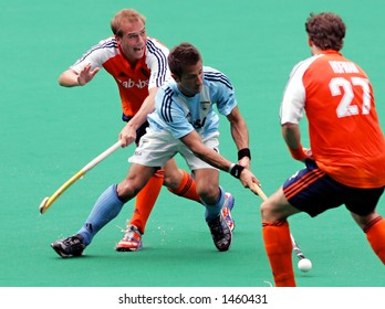 Field hockey match Netherland vs Argentina (blue)