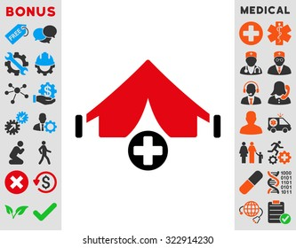 Field Hospital raster icon. Style is bicolor flat symbol, intensive red and black colors, rounded angles, white background.