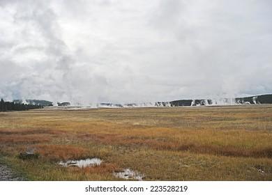 field of hot springs