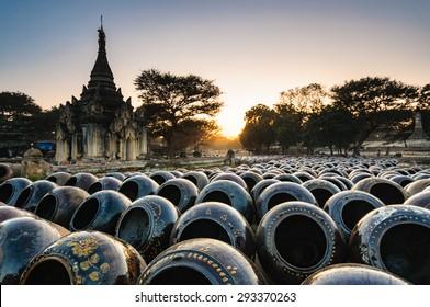 Field of jars in Bagan, Myanmar