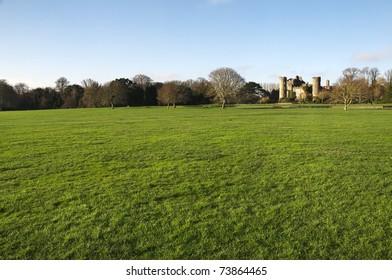 a field with Malahide Castle