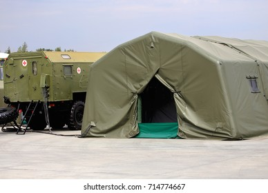 Field mobile medical aid station  on the basis of the canvas tent and sanitary car