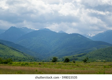 field & mountain in romania