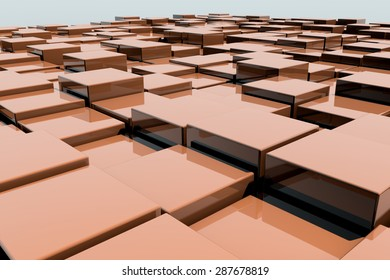 Field of orange 3d cubes. 3d render background image