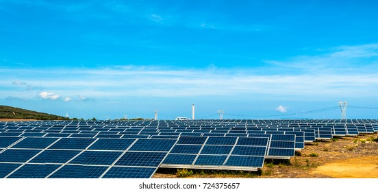 Field of photovoltaic panel in sunny day in Sardinia - Italy