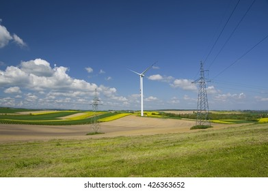 Field with rape, corn, windmills and electricity pylons