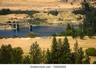 Field River and Bridge at Fort Spokane in Lake Roosevelt National Recreation Area