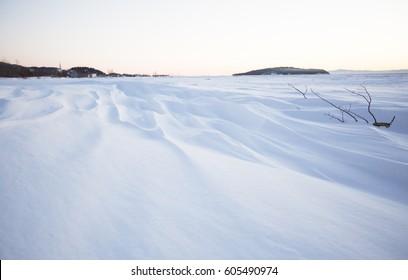 A Field of snow in winter season. Beautiful effect