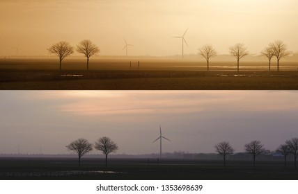 Field with trees and windmills on the horizon in the evening and in the morning. Typical dutch landscape. North Holland, Hollands Kroon, Netherlands. Panoramic view set of two images.
