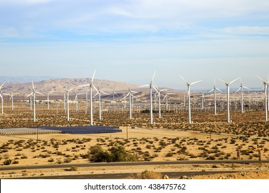 A field of wind turbines generating green energy in Palmdale, California