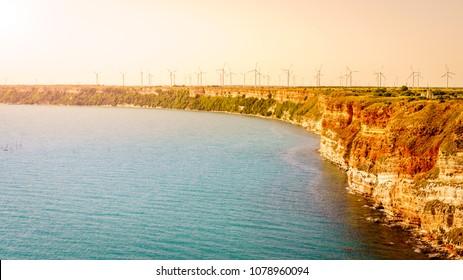 Field of wind turbines on Cape Kaliakra, Bulgaria