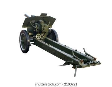 Field-gun, World War, isolated on white