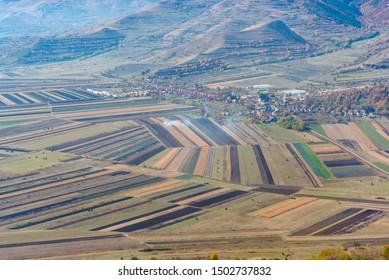 fields aerial landscape at summer