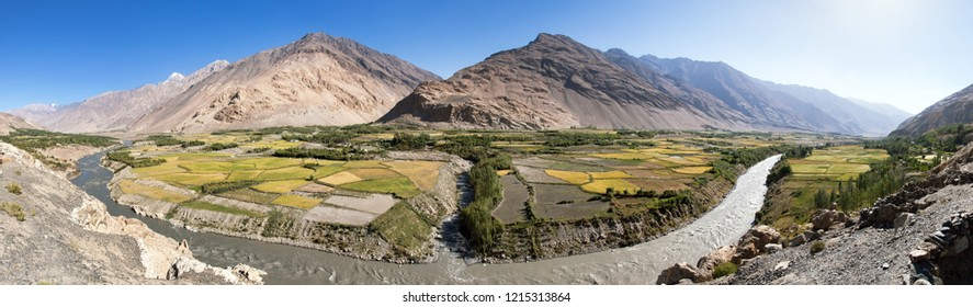 Fields aroun Panj river, Gorno-Badakhshan region, Wakhan valley, Tajikistan and Afghanistan border