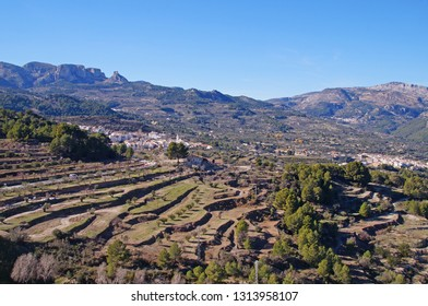 Fields in different levels seen from Guadalest Castle in the province of Alicante, Spain