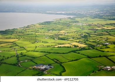 fields and farms over the Northern Ireland landscape