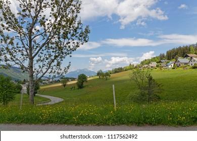 Fields and meadows around the village of Saint-Nizier du Moucherotte on Vercors range