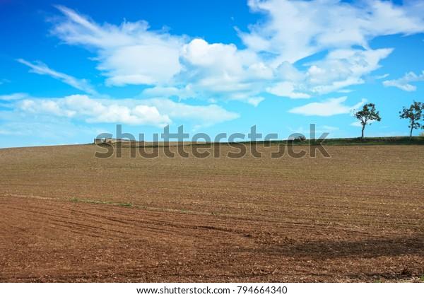 fields plowed in the autumn