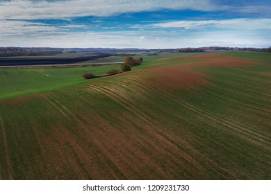 Fields and roads in autumn time.