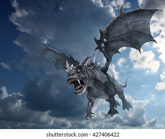 A fierce dragon begins to swoop down for the kill - 3d render.