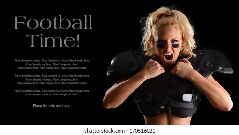Fierce Football Player Yelling with Sample Text Space to the left