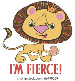 """Fierce Lion for Kids This image also available as vector art. Please search under """"vector only""""."""