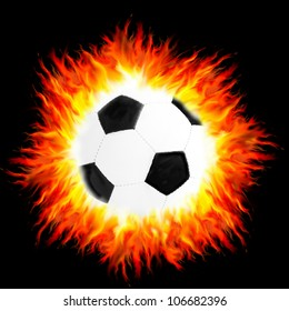 fiery ball on black background