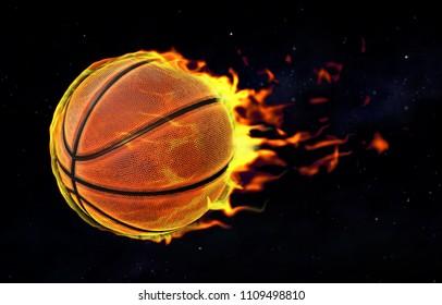 Fiery basketball flying against the black sky. 3D illustration.