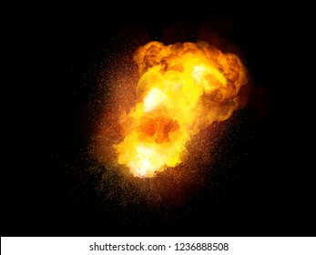 Fiery bomb explosion, orange color with sparks and smoke isolated on black background