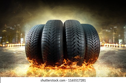 fiery car tires at night