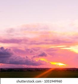 Fiery Cloud Setting Sun