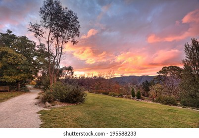 Fiery clouds an autumn sunset in the Blue Mountains NSW Australia