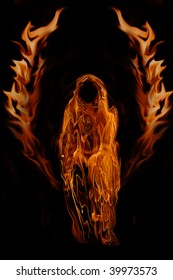 Fiery Dark Angel Ghost of Hell isolated on a black background.