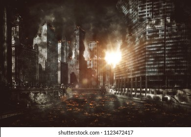 Fiery explosion between city skyscrapers at night with smoke pouring from buildings and burning debris littering the street