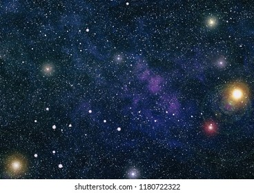 Fiery explosion in space. Abstract illustration of universe.planets, stars and galaxies in outer space showing the beauty of space exploration. Elements furnished by NASA