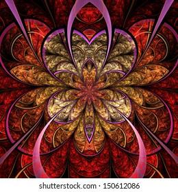 Fiery fractal flower, digital artwork for creative graphic design