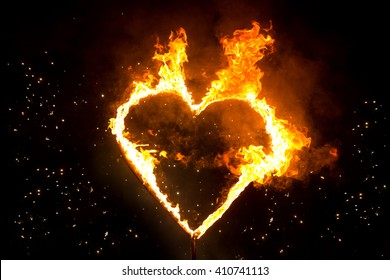 Fiery heart in the night