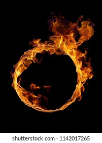 fiery hoop on a black background