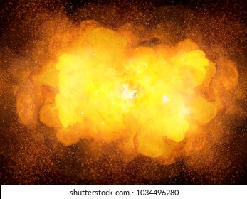Fiery hot explosion with smoke on black background