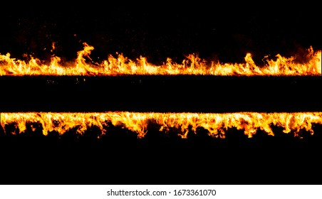 fiery lines set isolated in black
